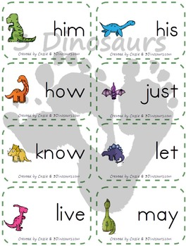 Dinosaur Themed Dolch Sight Words & Nouns Cards Bundle