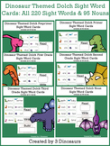 Dinosaur Themed Dolch Sight Words & Nouns Cards Bundle