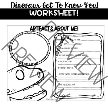 Dinosaur Themed Get To Know You Worksheet- Back to School!