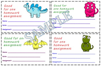 Dinosaur Themed Homework Passes