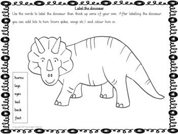 Dinosaur Themed Independent Creative Work Grade K-1