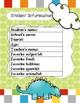 Dinosaur Themed Kindergarten, Pre-K, Junior K Portfolio