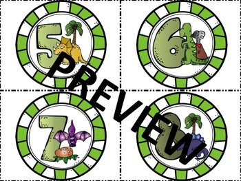 Dinosaur Themed Numbered Labels