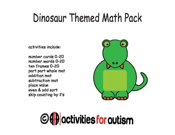 Dinosaur Themed Math Pack--Great for ABA, SPED, and Centers
