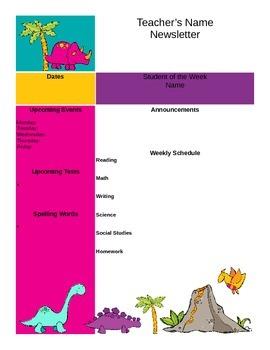 Dinosaur Themed Newsletter Template