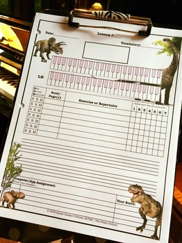 Dinosaur Themed Piano Lesson Assignment Sheet