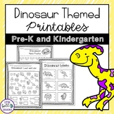 Dinosaur Themed Printables/Worksheets for PreK & Kindergarten
