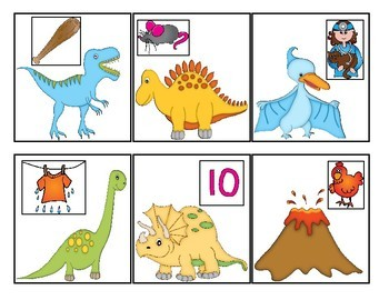 Dinosaur Themed Rhyming Match-Up