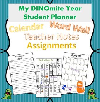 Dinosaur Theme Planner for Improved Communication 2017/2018 School Year