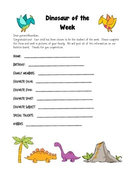 Dinosaur Themed Student of the Week