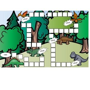 Dinosaur Themed Token Board Game Format