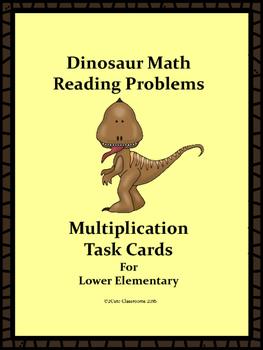 Dinosaur Themed Word Problems: Multiplication Task Cards