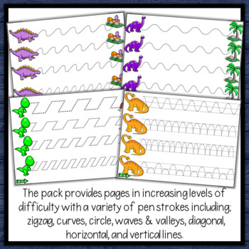Dinosaur Tracing Lines for Path of Motion & Fine Motor Skill development