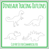 Dinosaur Tracing Outlines for Pencil Control or Cutting Practice Clip Art Set