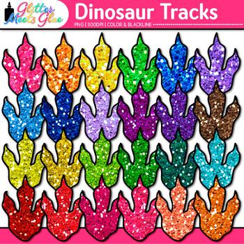 Dinosaur Tracks Clip Art {Rainbow Glitter Prehistoric Animals for Science}