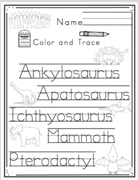 Dinosaur Types Printable