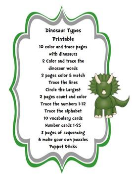 Dinosaur Types Printable