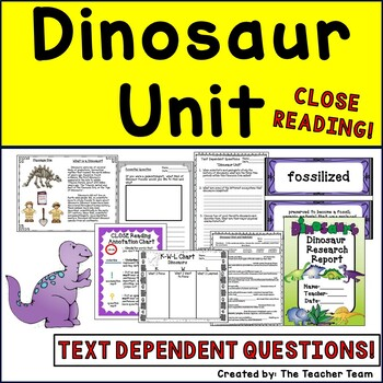 Dinosaur Unit ~ Informational Text for Close Reading ~ Tex