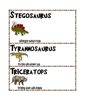 Dinosaur Unit Word Wall