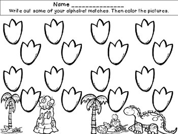 Dinosaur Uppercase and Lowercase Matching Activities and Worksheets