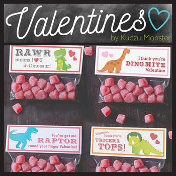 Dinosaur Valentine Treat Topper