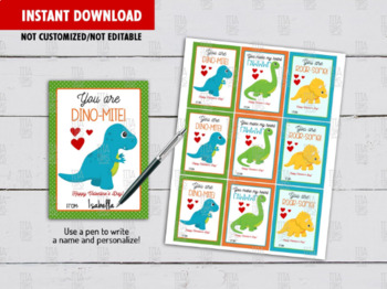 Dinosaur Valentine's Day Card DIY Printable, Dino-Mite Boy Exchange Tag