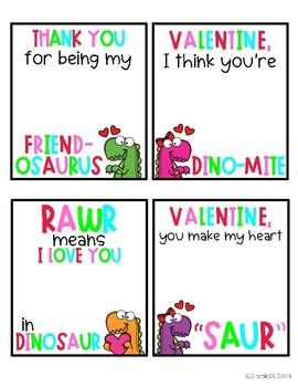 Dinosaur Valentine's Day Gift Tags