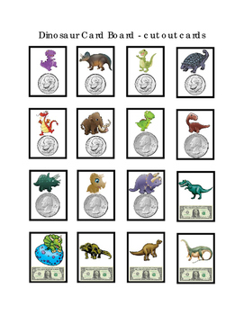 Dinosaur Value Money Cards Coins Penny Nickel Dime Quarter Store Math 25 pages