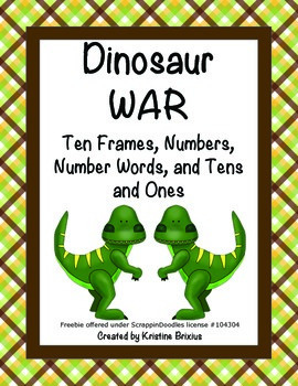 Dinosaur WAR: Ten Frames, Numbers, Number Words, and Tens and Ones