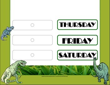 Dinosaur Weekday Chart! Dinosaur Bulletin Board! Dinosaur Theme Days!