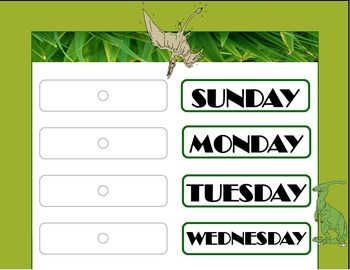Dinosaur Weekday Chart! Dinosaur Bulletin Board! Dinosaur