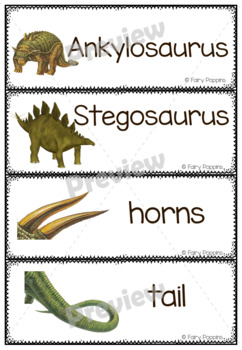 Dinosaur Word Wall Cards, Sign and Borders