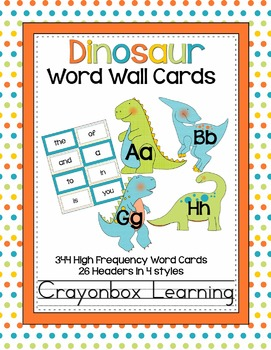Dinosaur Word Wall Cards and Headers {editable file too!}