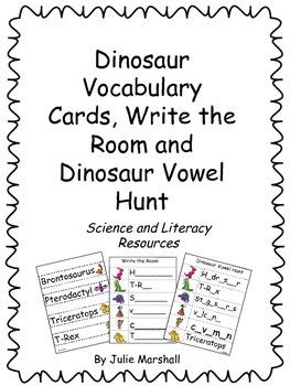 Dinosaur Word Wall Vocabulary, Write the Room and Dinosaur Vowel Hunt