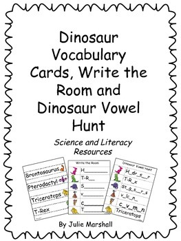 Dinosaur Word Wall Vocabulary, Write the Room and Dinosaur Vowel Hunt