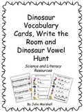 Dinosaur Word Wall Vocabulary, Write the Room and Dinosaur