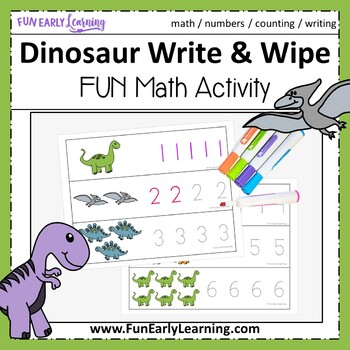 Dinosaur Write and Wipe Numbers 1-20 {Common Core}
