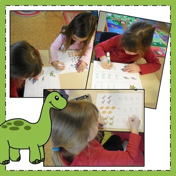 Dinosaur Write and Wipe Numbers - Math Center Activity