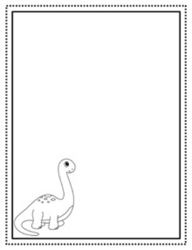 Dinosaur Writing Paper - Black and White - 3 Styles