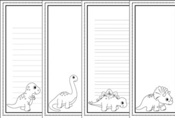 Dinosaur Writing Paper - Black and White - 3 Styles