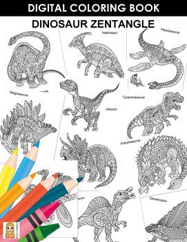 Dinosaur Zentangle Coloring Book