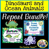 Dinosaur and Ocean Animals | Research Report Bundle