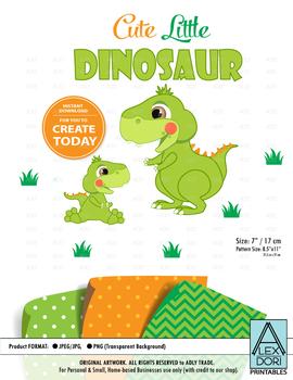 Dinosaur clipart cute green dinosaur clipart orange patterns