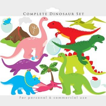Dinosaur clipart - dinosaurs clip art, prehistoric, triceratops, t-rex,