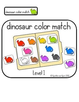 Dinosaur color match file folder game