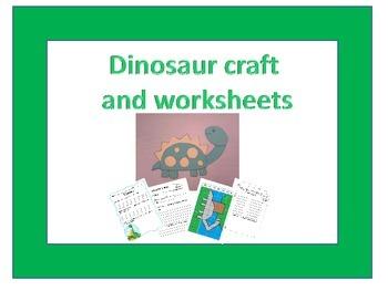 Dinosaur craft and worksheet set