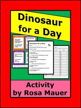 Dinosaur for a Day  Task Cards