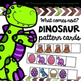 Dinosaur math patterning cards for students new to learnin