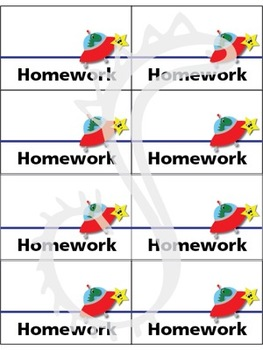 Dinosaur on a Spaceship Theme Homework Folder Labels
