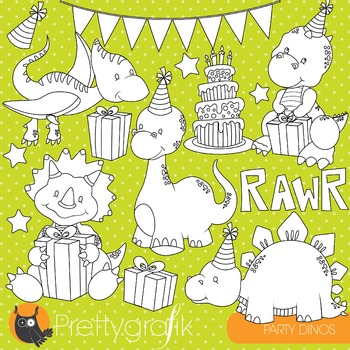 Dinosaur party stamps commercial use, vector graphics, images - DS795